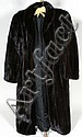 LADIES BLACKGLAMA MINK FULL-LENGTH COAT. Shawl collar, molded shoulders, single hook closure at waist. Black rayon satin lining. Hits at ankle, on seam pockets. Label: Kaufmann's ''World's finest dark ranch mink Blackglama Great Lakes Mink