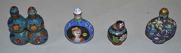 4 CLOISONNE SNUFF BOTTLES. Lot of 4 enameled snuff bottles includes; (1) double gourd form. (1) canton portrait style. (2) cloisonne . sold as is.