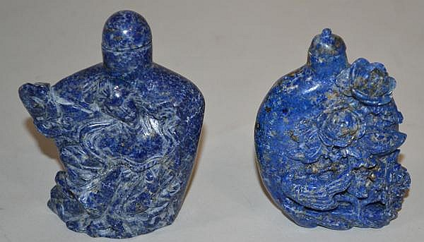 2 LAPIS LAZULI SNUFF BOTTLES. 2 Lapis Lazuli carved snuff bottle.s (1) 3 14