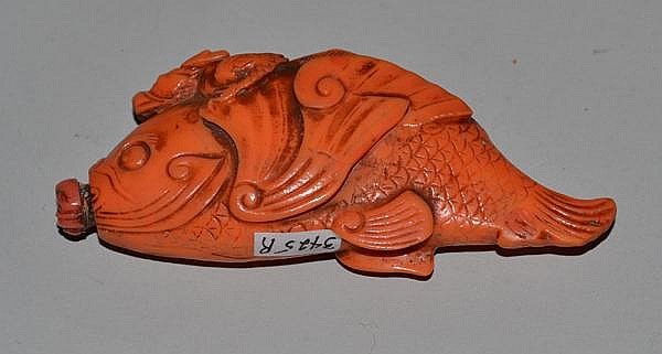 CORAL SNUFF BOTTLE. Carved coral fish form snuff bottle. 3 1/2