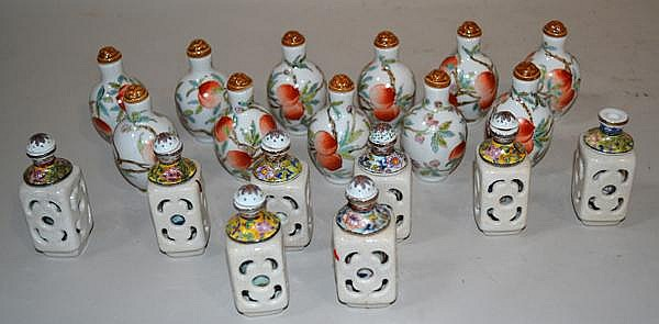 19 PORCELAIN SNUFF BOTTLES. Lot of 19 porcelain snuff bottles. sold as is.