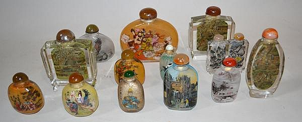 13 REVERSE PAINTED SNUFF BOTTLES. Lot of reverse painted snuff bottles. sold as is.