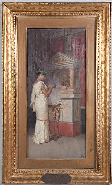 PAOL MEI (Italian ?-1899) 'At the Shrine', oil on panel, signed lower right P. Mei. Titled on brass plaque. Contained in original gilt frame under glass. Condition: no visible defects. Dimensions: 13 7/8'' X 6 1/2'', frame 18 1/4'' X 11''.