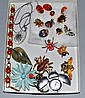 LADY BUG AND OTHER INSECT COSTUME JEWELRY LOT 15 PLUS. Lot includes; (1) Lady bug bracelet. (2) enamel and rhinestone Lady bug pins. (1) pair of lady bug earrings. (1) bat pin. (1) lady bug watch. (1) flower brooch with lady bug. (1)leaf brooch with