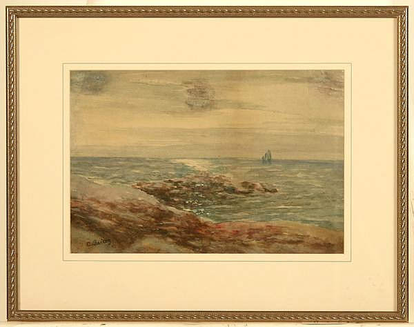C. BAILEY (Late 19th-early 20th c.) Seascape, watercolor, signed lower left c. Bailey. Contained in matted silvered frame under glass. Condition: no visible defects. Dimensions: 9 3/8'' X 14'', frame 16 1/4'' X 20 5/8''.