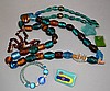MURANO AND OTHER GLASS JEWELRY LOT 6 PIECES  1, 30''L. 1, 15''L. 1, 17''L. Also Brooch, Pendant and other. No Mark. Condition all jewelry sold as is. (L#286)