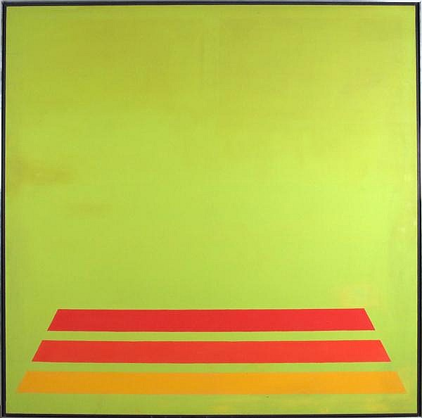 RICHARD VAUX (PA/NY 1940- ) 'One, Two, Three', acrylic on canvas, signed, titled and dated '66 on verso. Contained in narrow aluminum float frame. Westinghouse Art Collection label. Condition: some surface abrasions. Dimensions: 83 1/2'' X 83 1/2'',