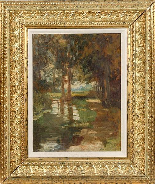 ANNA LEA MERRITT (1844-1930) 'The Bourne', oil on canvas board, titled and signed on verso. Contained in newer gilt frame. Condition: small repair at upper right edge. Dimensions: 13 1/2'' X 10'', frame 20 1/2'' X 17''. Provenance: Collection of