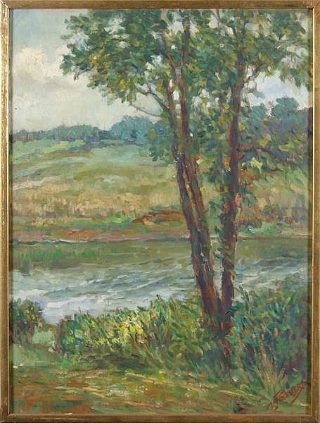 VINCENT NESBERT (Pittsburgh 1898-1976) Impressionistic landscape, oil on canvas board, signed lower right V. Nesbert. Contained in narrow gilt frame. Condition: no visible defects. Dimensions: 23 3/4'' X 17 1/2'', frame 24 3/4'' X 18 1/2''.