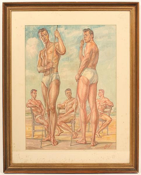 VINCENT NESBERT (Pittsburgh 1898-1976) Study of a man in five different poses, watercolor on paper, signed lower right V. Nesbert. Contained in matted frame under glass. Condition: some foxing to mat. Dimensions: window 23 1/2'' X 17 1/2'', frame 32