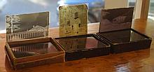 Forty two antique glass photograph slides