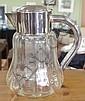 Large silver plate & crystal water jug with ice