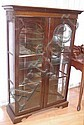 Mahogany display cabinet with glass shelves
