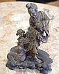 Good Chinese carved stone figure of a man and boy,