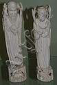 Pair of Chinese carved ivory figures Man carrying