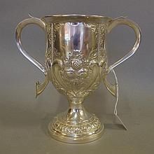 Arts & Crafts two handled sterling silver cup by James Dixon & Sons, hallmarked Sheffield 1902, 18cm high approx., weight 388g approx.