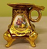 A small Dresden candle holder handpainted scene of