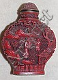 Chinese red cinnabar lacquer snuff bottle reign