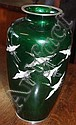 Good cloissone green vase with cranes 25cm in
