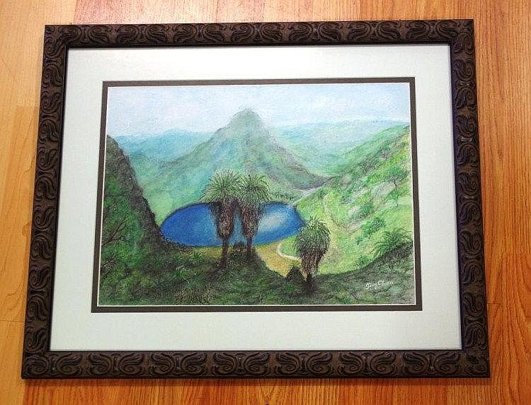 Tony Chen, pastel on paper mountain lake, signed