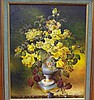 Robert Cox ( working 1970s-80s) Yellow Roses Oil