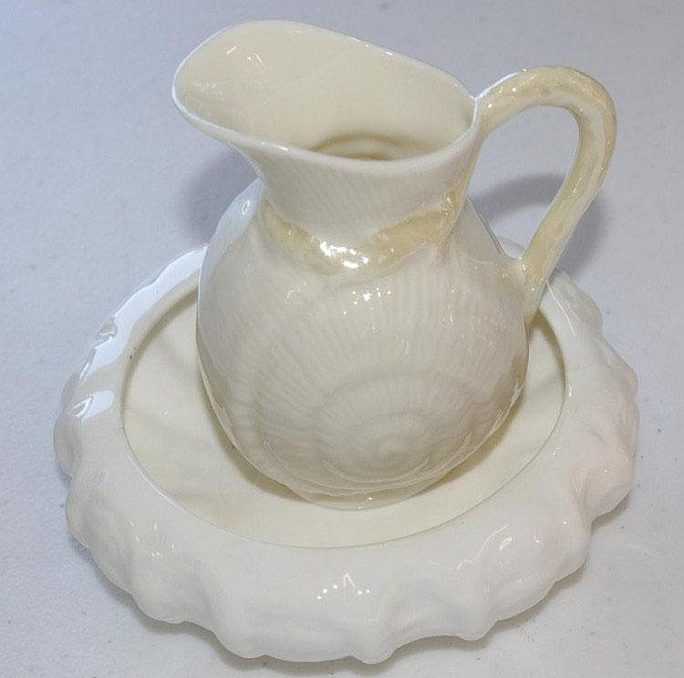 Belleek porcelain cream jug with a Coalport bowl
