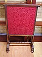 Antique fire screen with 3 fabric lined slide out