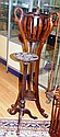 Mahogany plant pot stand with carved birds 129cm