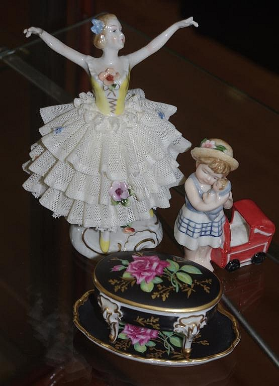 Dresden ballerina and Rosenthal girl with a