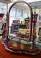 Antique mahogany toilet mirror 77cm wide, 85cm