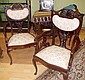 Pair of Edwardian parlour chairs armchairs with