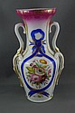 Victorian pottery hand painted vase 21.5cm high