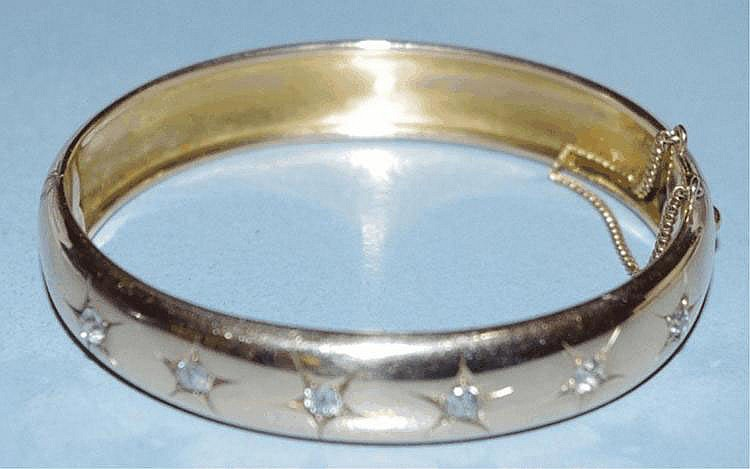 Victorian 9ct rose gold & diamonds bangle 17gm,