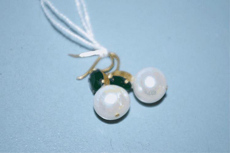 Pair of pearl and green gemstone set drop earrings