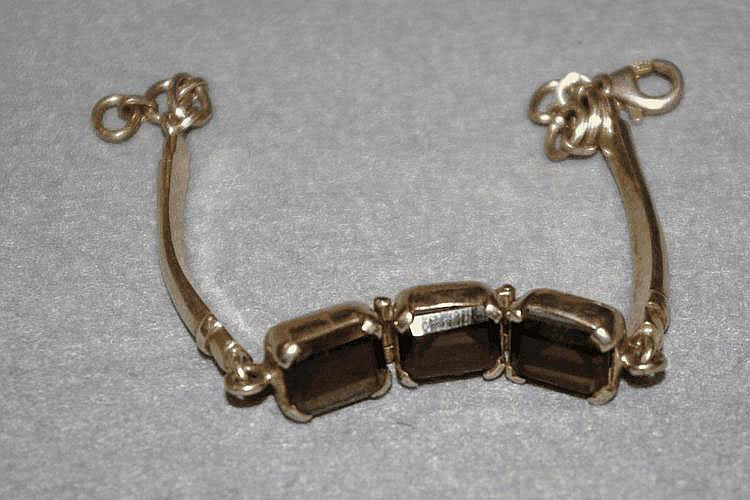 Silver bracelet with smokey topaz