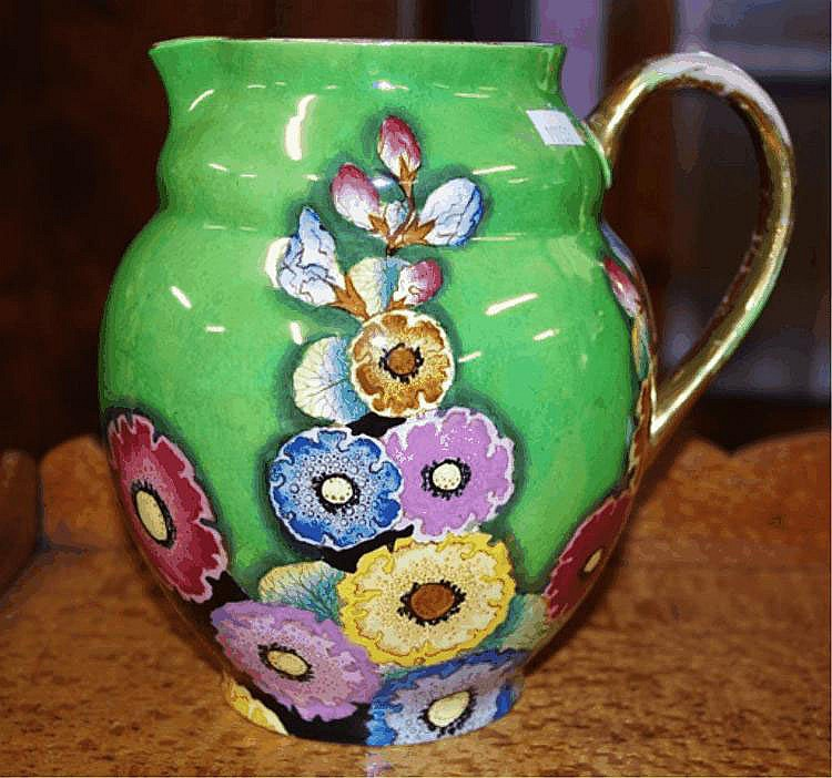 Large Carltonware hollyhocks water jug makers mark