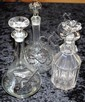 Three various glass decanters