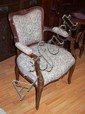 Carved boudoir arm chair 62cm wide, 84cm high