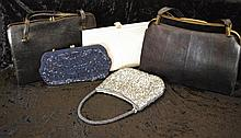 Five vintage handbags 2 beaded, 3 leather