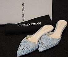 Pair of Giorgio Armani baby blue corded mules with