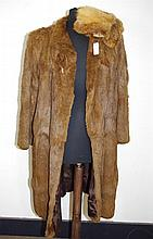 Brown knee length fur coat with brown satin