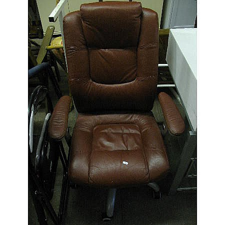 A brown leatherette office chair, together with a