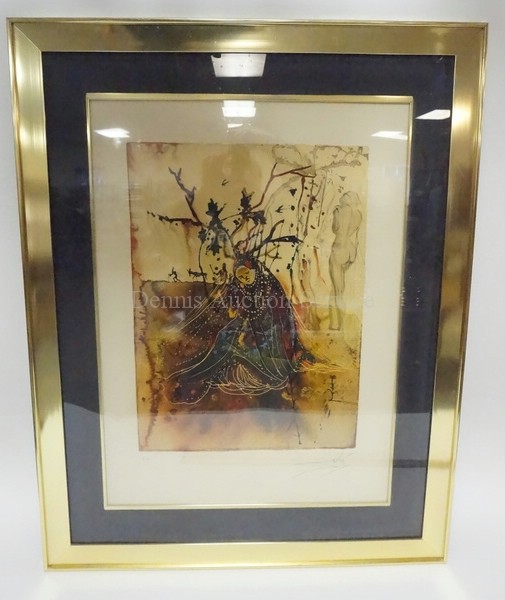 FRAMED SALVADOR DALI PRINT. E.A. PENCIL SIGNED. 20 1/2 IN X 28 IN