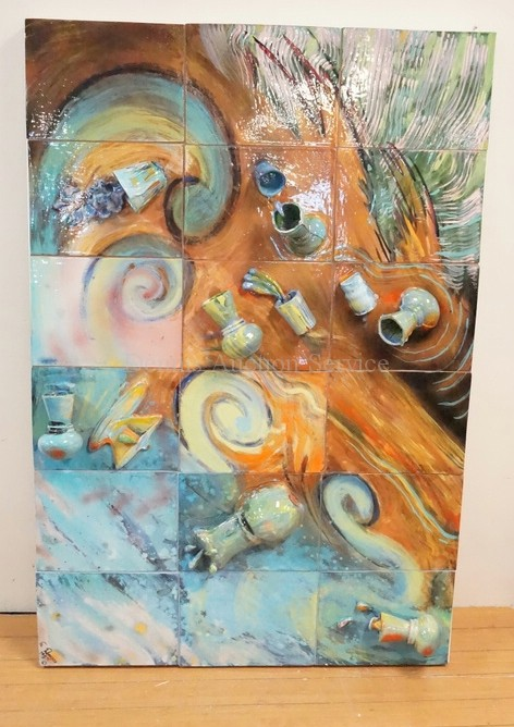 MOUNTED TILE AND ART POTTERY HAND PAINTED COLLAGE SIGNED S. DONEGAN, 1987. 43 IN X 65 IN