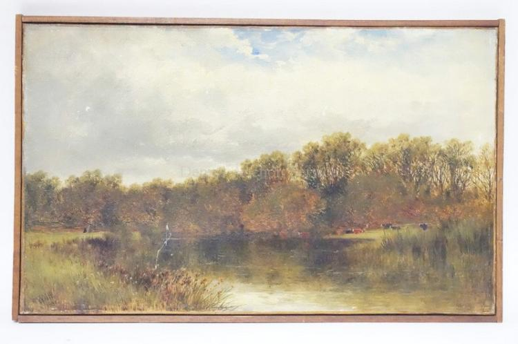 FRAMED O/C LANDSCAPE W/ COWS IN A PASTURE BY WILLIAM PITT, 1881. *ON THE STOUR. NEAR CHRIST CHURCH*. 17 3/4 IN X 10 3/4 I N