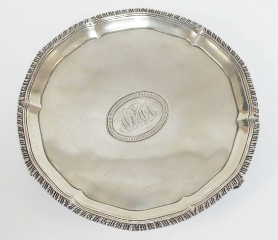 RICHARD RUGG I STERLING SILVER FOOTED SALVER. LONDON, 1766.  12.735 T OZ   8 1/8 IN DIA