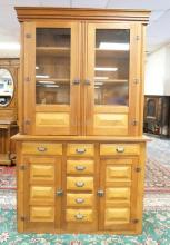 VICTORIAN COUNTRY STEPBACK CUPBOARD IN MIXED WOODS INCLUDING CHERRY WITH OAK AND BIRDSEYE MAPLE PANELS. 85 IN TALL. 51 IN WIDE. 20 IN DEEP.