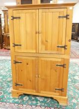 PINE 4 DOOR CABINET. 61 IN TALL. 38 1/2 IN WIDE.