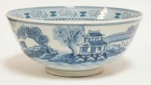 CHINESE PORCELAIN BOWL IN BLUE & WHITE. 10 1/4 IN DIA.