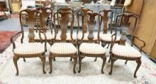 SET OF 8 DINING ROOM CHAIRS. *HEIRLOOM BY HERITAGE*. VASE BACK WITH CARVED LEGS. 42 IN TALL.